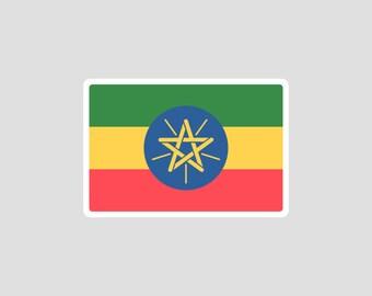 ETH Ethiopia Country Code Oval Sticker Decal Self Adhesive Ethiopian euro