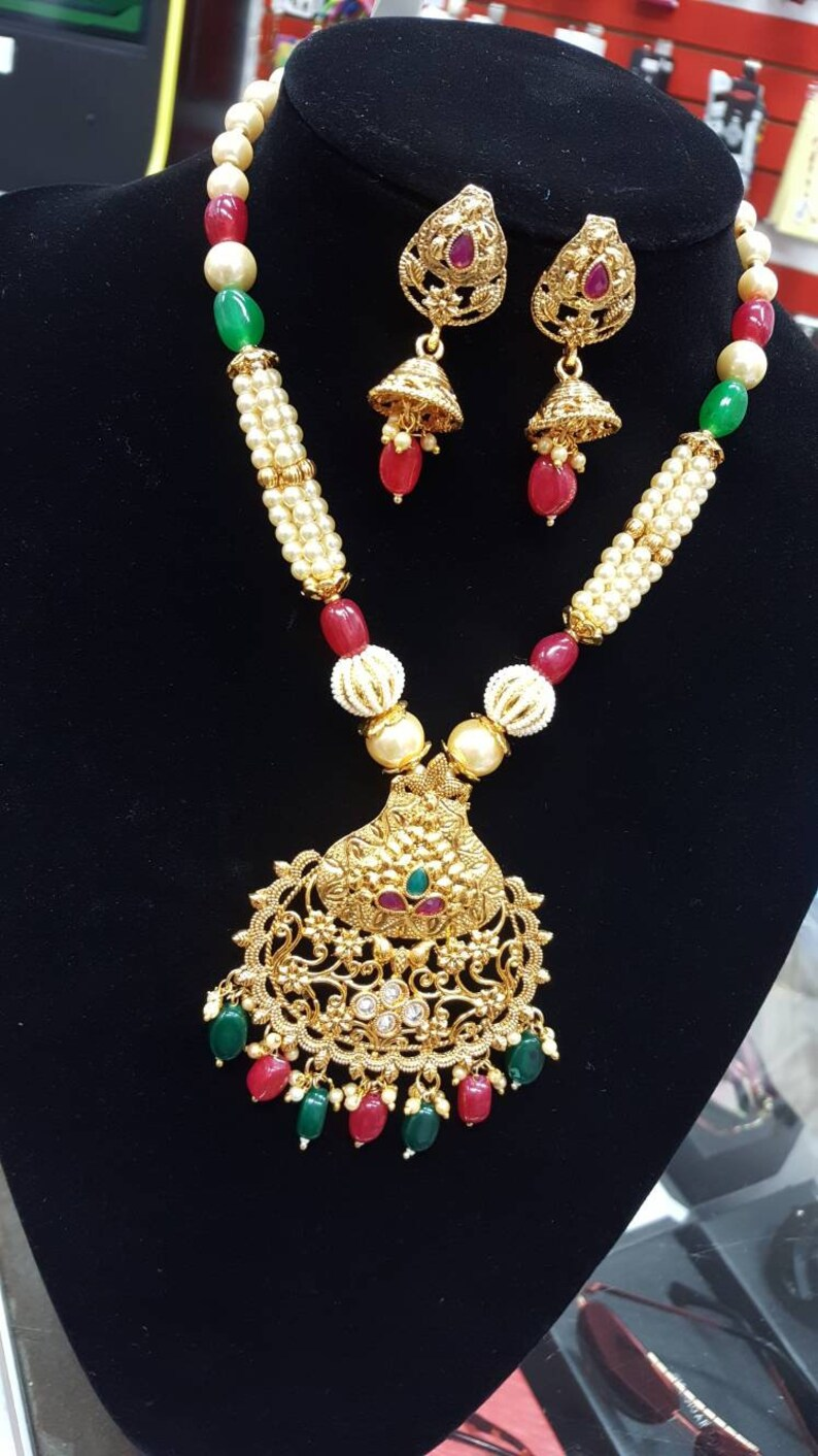 Hypoallergenic Indian Wedding Set Punjabi Rani Kundan Pendant Necklace /& Crystal With Pearls Earring Set Indian Jewellery Sensitive Skin
