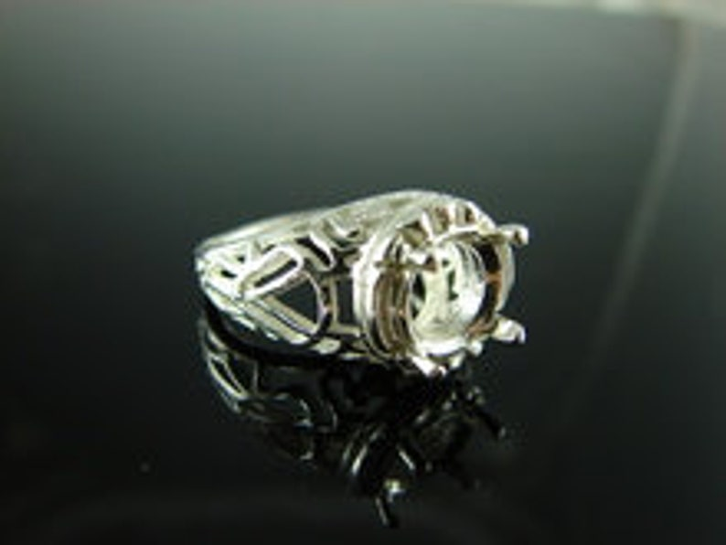 D6131 Ring Setting Sterling Silver Size 7 10 mm Round Gemstone