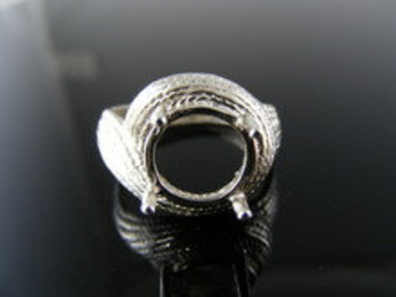 D5520 Sterling Silver Ring Setting 9.5 MM Round Stone Size 7.5