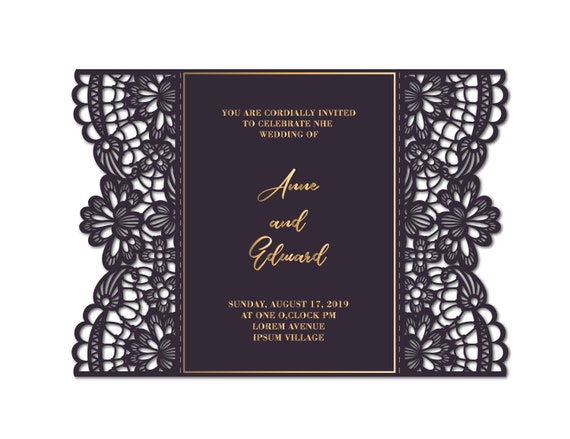 Ornamental Laser Cut Gatefold Wedding Invitation Card Template 5 7 Svg Cdr Files For Silhouette Cameo Cricut Cutting Machines