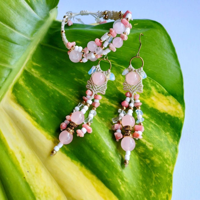 Macrame wedding set Pink Bliss bracelet and earrings with natural stones rose quartz,moonstone,crystals,coral and brass beads from Bali!