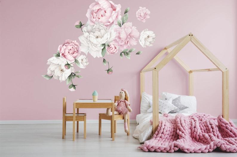 Peony Nursery Decal Vintage Peonies Decal Pink Peonies Decal Flower Wall Decal Peony Flower Wall Decal Watercolor Peonies Decal