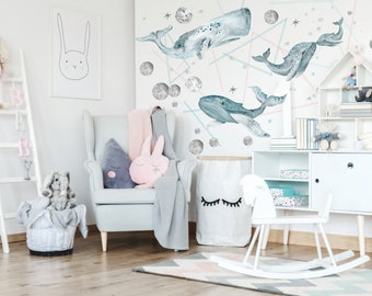 Ocean wall decals - Watercolour Whales Wall Decal - Whales in Sky Wall Decals - Ocean Theme Bedrooms
