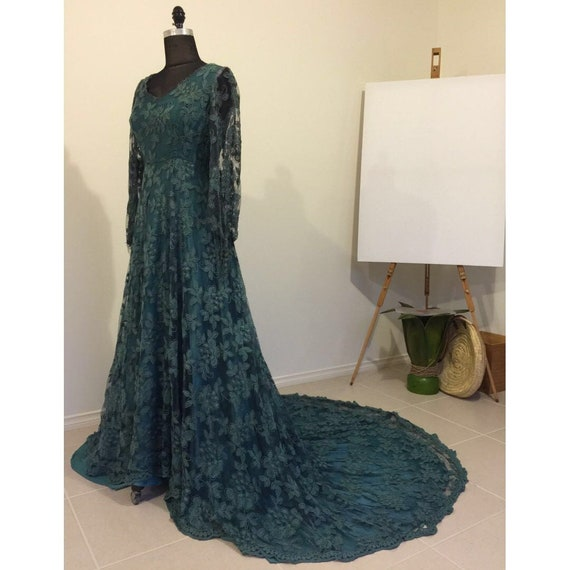 1990's Cotton Lace Gown, Deep Green