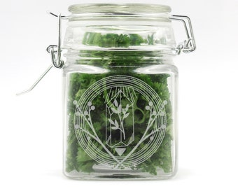 4378bdb5f Laser Engraved Square Glass Stash Jar - Healing Magic Crystal and Herbs -  Hermetic Air Tight Lid - Free Humidifier Stone