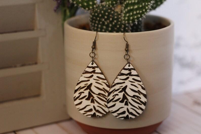 White Tiger Wooden Earrings