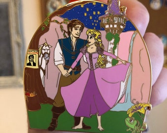 Rapunzel and tower Fairy Tale Pin Rapunzel Button Pin Bookish Gifts Bookish Pin