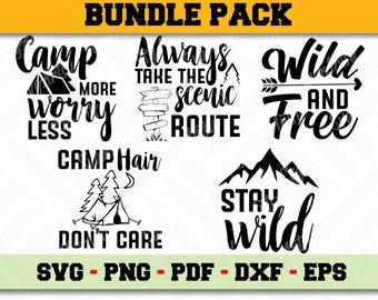 Camping Svg Bundle 5 Designs Pack Instant Download Files Etsy