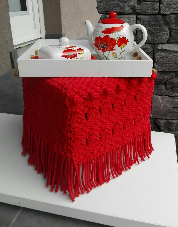 Pouffe red Little seat Ottoman Little sofa Seat Chair