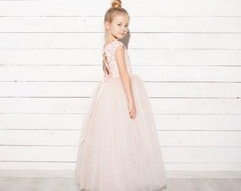 f54ad3ec8b Blush Flower Girl Dress Tulle party dress Tutu dress Birthday girl dress  Wedding girl dress Lace Junior Bridesmaid dress Baby formal dress