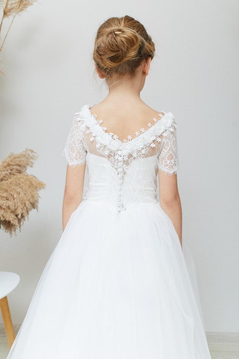 Ivory Flower Girl Dress Cream Tulle dress Puffy Tutu flower dress Wedding girl dress Kids dresses Lace flower dress Junior Bridesmaid dress