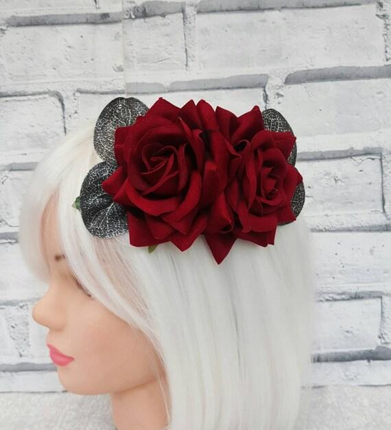 Rose Red Blood Floral Goth Rockabilly Pinup Platform Heels