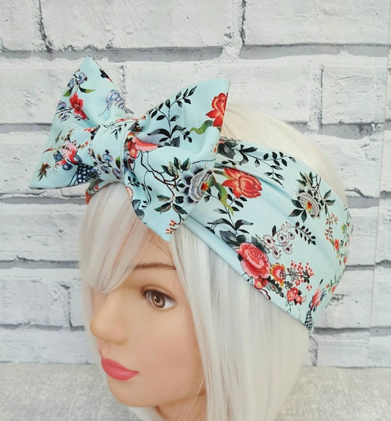 SUMMER FLOWERS ON BLUE LAND GIRL 40s//50s Style Rockabilly Pin Up Head Scarf
