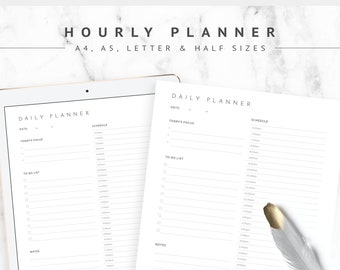 Daily planner printable, Half Hourly schedule printable, Daily planner template, Day task list, Daily to do list for work, Day Scheduler