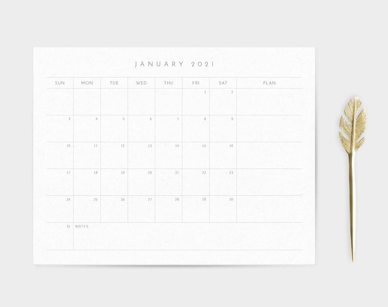 Calendar Printable 2021 Minimalist Desk Pad Calendar | Etsy
