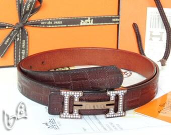 Ceinture en cuir Hermès Vintage H Logos boucle Constance réversible ceinture  LeatherBuckle brun foncé sont livrés avec boîte  2880529 9a4426afca4