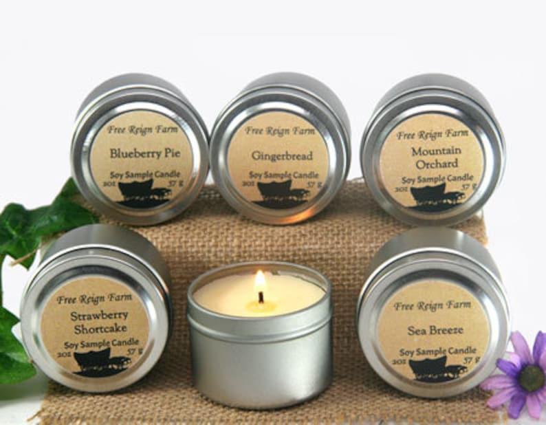 travel tin soy mini candle as a cheap gift idea