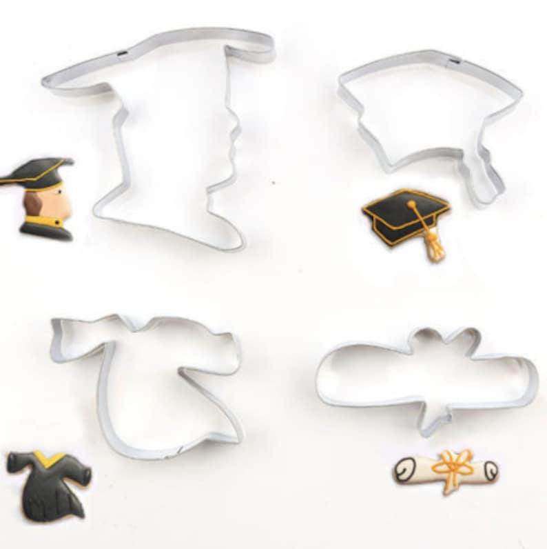 Graduation Theme Fondant Diploma Stainless Steel Cookie Cutters Graduation Hat Graduation Cookie Cutter 4 Piece Set Gown Baking Tools
