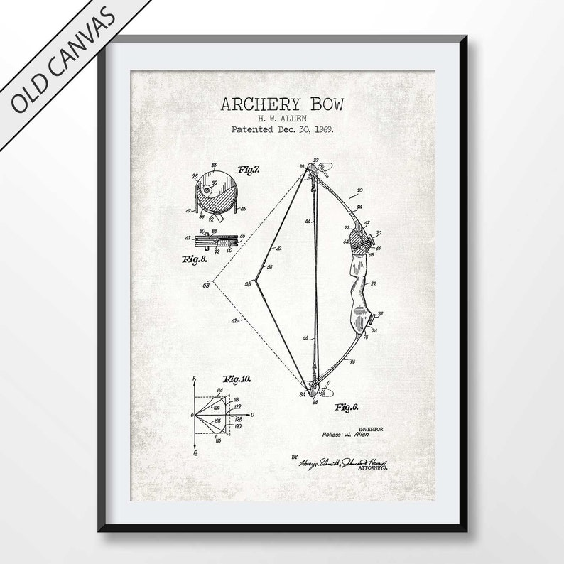 Archery Bow 1969 1 Patent Print Blueprint Decor Vintage Poster Wall Art Gift