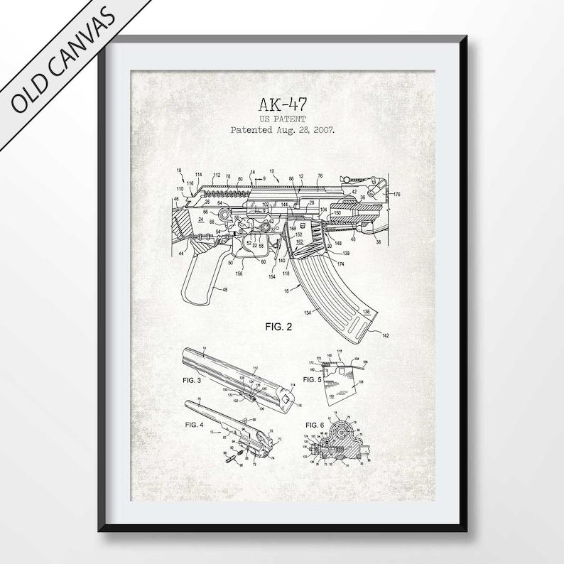 AK-47 rifle poster, ak-47 rifle patent print, rifle blueprint, firearm  poster, weapon decor, soldier gift, military wall art, army decor