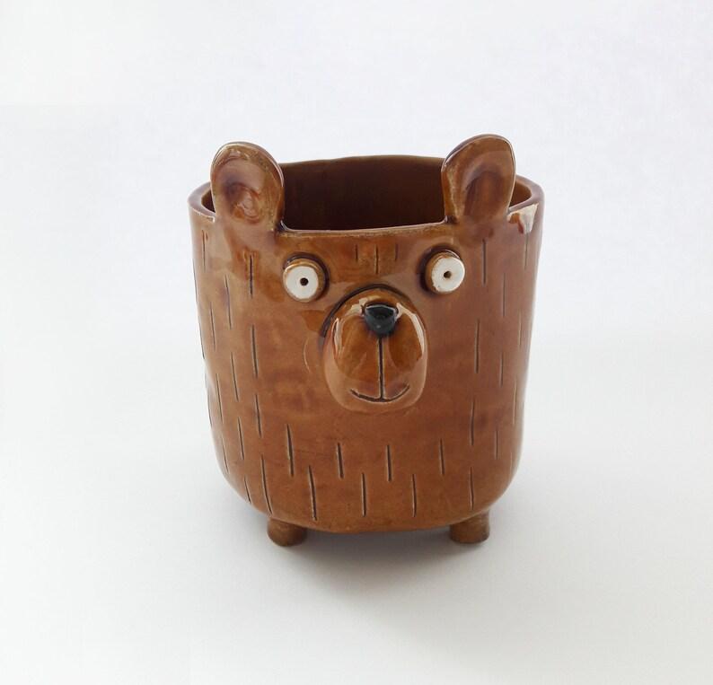 Handmade cute bear planter Brown flower pot for animal lover.