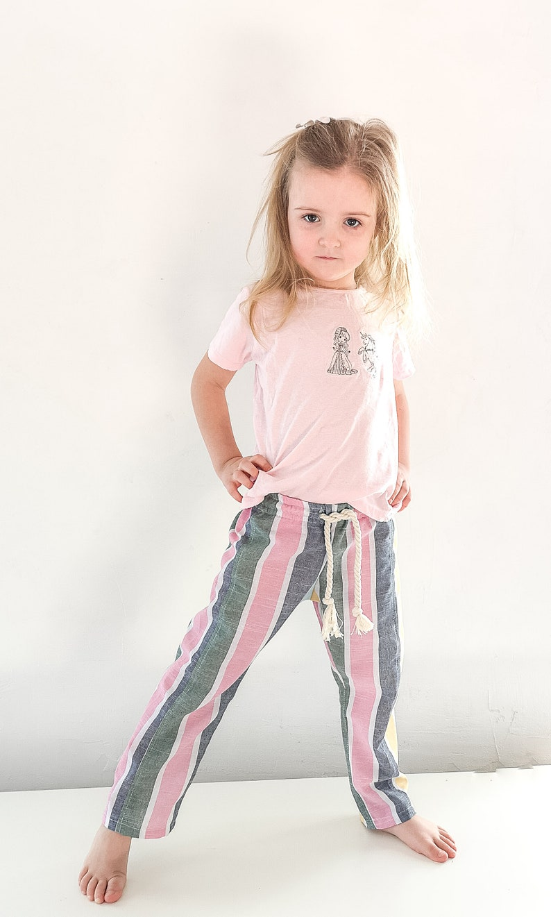 comfortable clothing unisex,organic baby pants  rainbow baby clothesbaby gift Boho pants natural linen for girls Boho Flower Girl