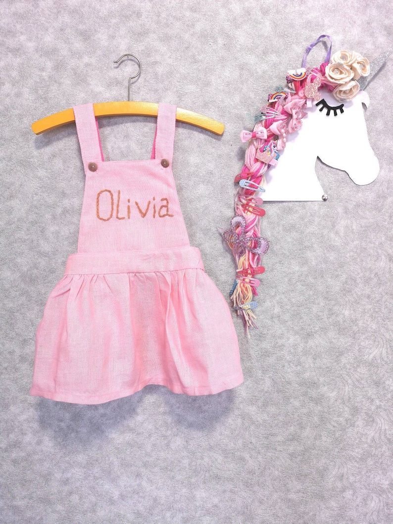 764432780e831 Toddler Girls Dress pink with baby name, personalized children's clothing,  Items for the little one