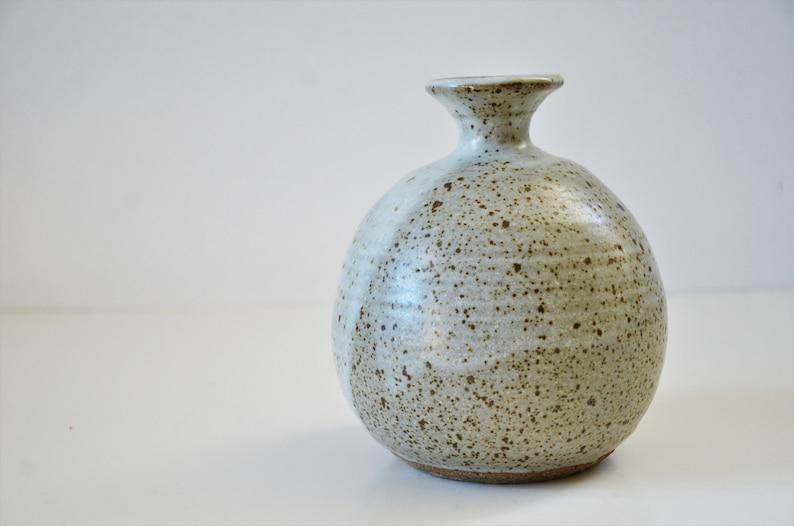 Speckle Glazed Vessel Weed Pot Vintage Hand Thrown Studio Art Pottery Vase
