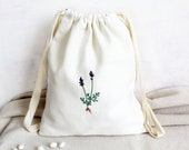 Lavender Hand Embroidery Pouch, Linen Pouch, Drawstring Bag, Storage Bag, Home Decor, White Linen, Kitchen Gift