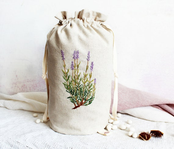 Lavender Hand Embroidery Bag, Linen Cotton Pouch, Drawstring Bag, Makeup Bag, Home Decor, Botanical Embroidery