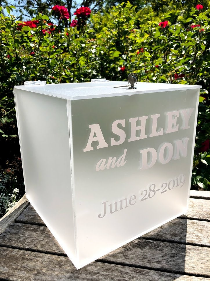 frosted personalized acrylic card box i wedding card box