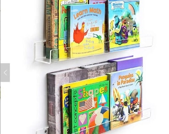 Set of 2 Clear Acrylic Invisible Floating Bookshelf Display