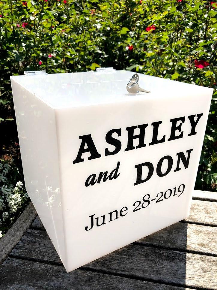 white personalized acrylic card box i wedding card box