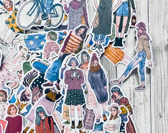 A lot of 25 people stickers for junk journaling and scrapbooking. Junk journal supplies, scrapbook supplies, journaling supplies.