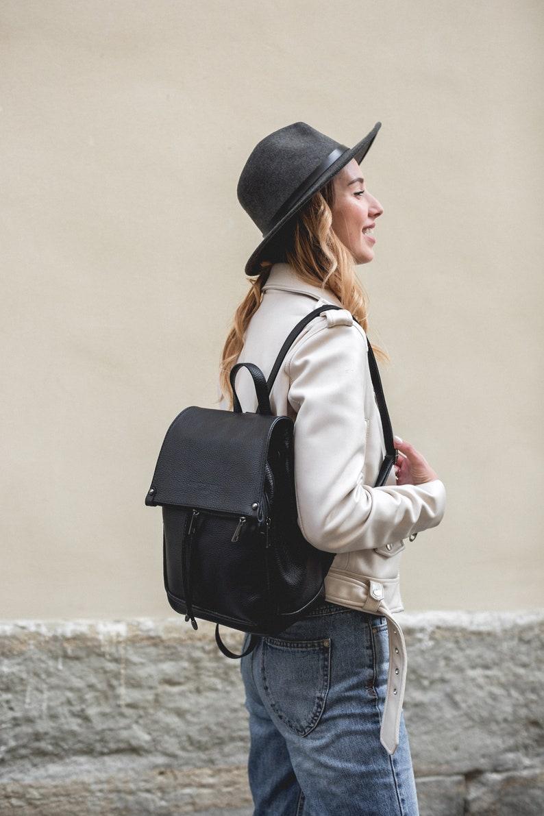 Leather Backpack Black Women Bag and Purse Shoulder Leather Bag Small Travel Backpack Laptop Cover i Pad Case Gift for Her Backpack Bag