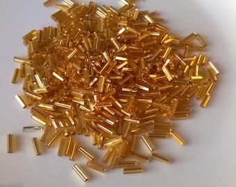 Hank Size 4 Metallic Gold Iris Czech Bugle #CBD025