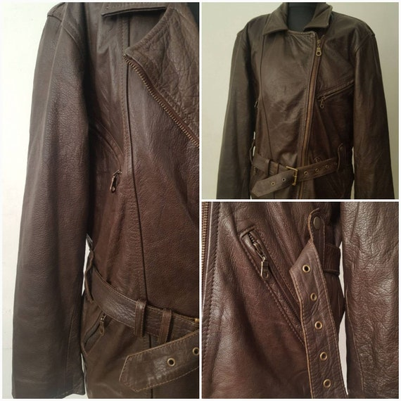 Vintage Women's  Brown Zipper Leather Jacket With