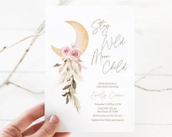 Stay Wild Moon Child Baby Shower Invitation, Moon Stars Invite, Girl Celestial Baby Shower, Boho Baby Shower Invite, Editable Template, E534