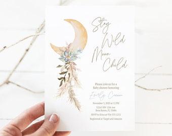 Stay Wild Moon Child Baby Shower Invitation, Moon Stars Invite, Celestial Baby Shower, Boho Baby Shower Invite, Editable Template, E533