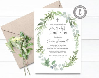 Gender Neutral First Communion Invitation Instant Download Editable Eucalyptus Invitations For Boy E170 Greenery
