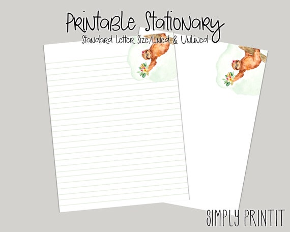 Sloth Printable Stationary Set A4 Stationary Paper Instant