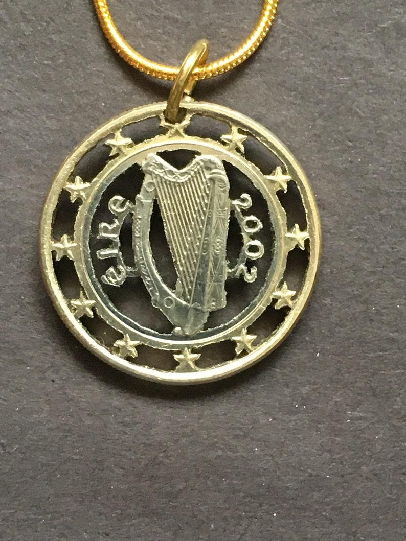 Ireland Cut Coin Pendant  from a 1 Euro Coin 2002,2003,2006,2007 or 2009