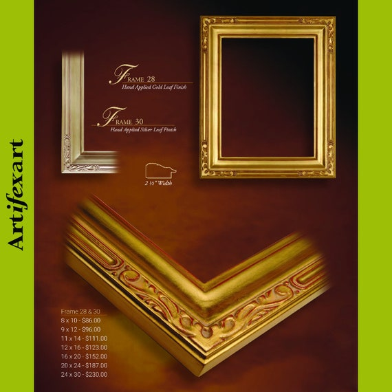 9 x 12 Arts /& Crafts Style Picture Frame HandApplied Gold Metal Leaf