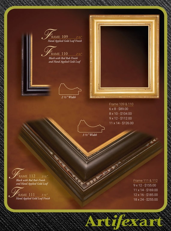 11 x 14  Black /& Gold Hand Burnished Gallery Picture Frame Closed corners