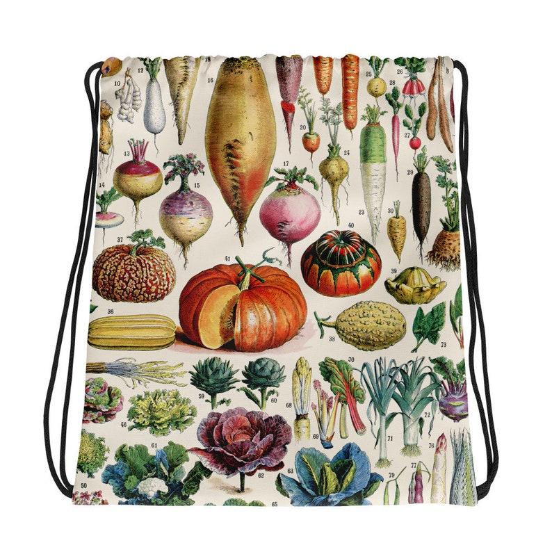 Vegetables Art Grocery Bag Gym Bag Vegetables Illustration Vintage Print 1 Drawstring Bag Book Bag DB1001 Shopping Bag