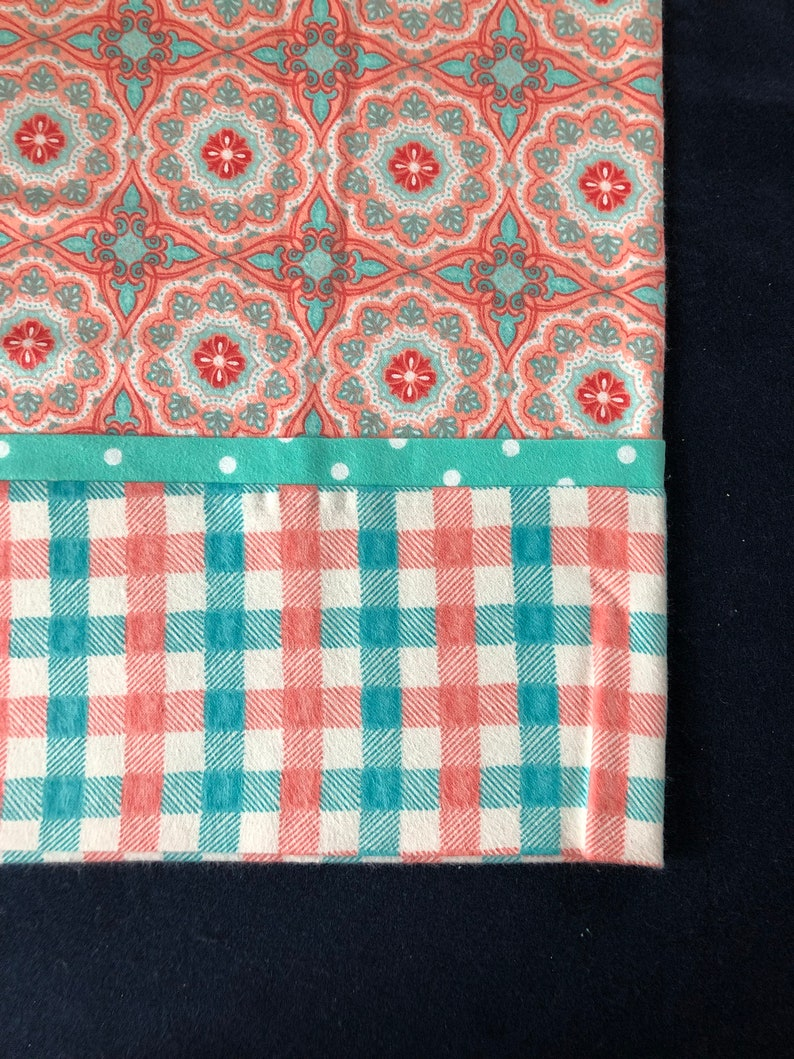 Set of 2 Two different Cuffs Cotton Flannel you choose Geometric Pattern Pillowcases FullQueen size