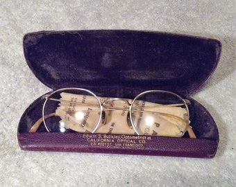 b3a5bac8e82 1930s original antique Eye Glasses Case 1 10 12K GF great Frame part  Bakelite wire rimmed Parsons Optical Edwin Buckley Optometrist San Fran