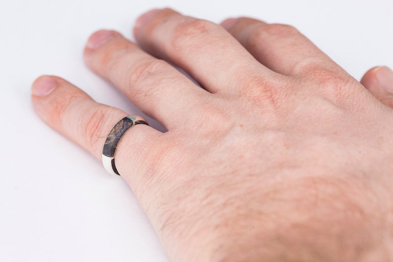 Burl Wood Jewelry Band Exotic Wood Rings Thumb Midi Knuckle Minimalist Ring His and Hers Sterling Silver Ring Unique Mens wedding Band