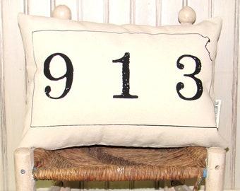 Kansas 913 Area Code Pillow Cover- Decorative Pillow Cover Only- Kansas City, MO-by Metro Pillow KC
